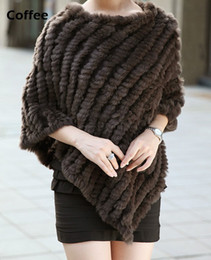 Wholesale Winter Ladies Poncho - Wholesale-Hot Sale Winter Coat Women , Ladies' Genuine Real Knitted Rabbit Fur Coat Female Fur Pashmina Shawls Poncho B6 CB030406