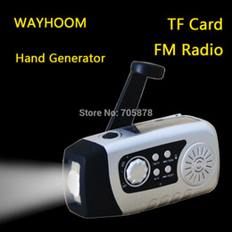 Wholesale Generator Portable - Wholesale-Hand Crank Radio Phone Outdoor Charger 2000mAh Solar Radio TF Card radio hand Generator Dnamo FM Solar Radio With Flashlight