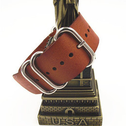 Wholesale Nato Leather Strap - Wholesale-zulu straps-1PCS High quality 20MM Nato strap genuine leather Watch band NATO straps watch strap-411045