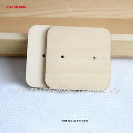 Wholesale Wooden Earring Blanks - Wholesale-(60pcs lot) Natural Wooden Earring Tags Jewelry Label Cards Display Jewelry Holder Blank Square Shape-CT1147B