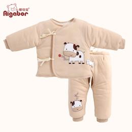 Wholesale Newborn Wadded Jacket Baby - Wholesale-Free Shipping Newborn wadded jacket baby clothes small cotton-padded jacket baby coat set thickening X1312102