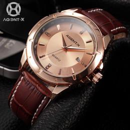 $enCountryForm.capitalKeyWord Canada - AGENTX Rose Gold Steel Case Reloje Masculino Auto Date Display Quartz Analog Leather Band Men Bussiness Wrist Watch   AGX024