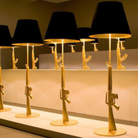Wholesale Gun Floor Lamp - Wholesale-Lounge Gun Floor Lamp By Philippe Starck bedroom fashion design AK47 Gun standing light Gold Chrome