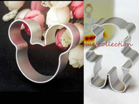 Wholesale Teddy Bear Chocolates - Wholesale-Hot Sale Cartoon Mold Mickey Mouse and Teddy Bear Shape Metal Fondant Cookie Cutter Biscuit Chocolate Cake Mold Decor DIY Baking