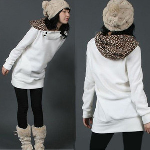 Wholesale Wholesale-Winter Women Warm Hoodie Sweatshirt Leopard Pullover Outwear Coat Jacket