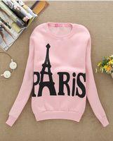 Wholesale Eiffel Tower Hoodie - Wholesale-High quality! women Cartoon star Paris Eiffel Tower casual hoodies sweatshirt Couple Baseball free shipping DF-022