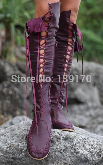42bfa1dad4c7e Wholesale Gypsy Lace Up Knee High Flat Boots 2015 New Arrival Over The Knee  Female Boots Orange Red Purple Brown Pink Casual Leather Boots Booties  Football ...