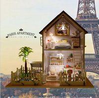 Wholesale Paris Apartment - Wholesale-DIY wooden doll house Paris Apartment miniatura miniature casa casinha de boneca furniture