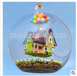 Wholesale Dollhouse Miniature Glasses - Wholesale-Miniature House Model DollHouse Glass Ball Flying House DIY KIT with Eng Manual