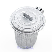 Wholesale metal dollhouses - Wholesale-1:12 Miniature Dollhouse Furniture Garbage Trash Can Metal Gray Empty Street Dolls Accessories