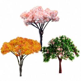 Wholesale Dollhouse Miniature Flowers - Wholesale-Dollhouse accessories Pretty flower tree sakura,maple,locust Miniature furniture toys for Doll House green courtyard,3pcs