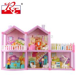 Wholesale Miniature Diy Assemble Toys - Wholesale-Large size miniature dollhouse toys DIY Assemble villa children play house toy doll home miniaturas casa de bonecas