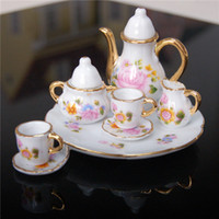 Wholesale Dollhouse Cups - Wholesale-New arrival dollhouse miniature furniture toys accessories chinoiserie mini tea cup saucer sets for 1:6 doll house
