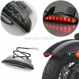 Wholesale Iron Running - Wholesale-Smoke Chopped Fender Edge LED Tail Brake Running Light Chopped Tail Light Smoke Fits For Harley Sportster Iron XL 883 1200 New