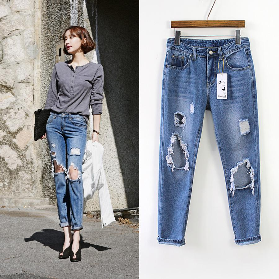 2018 2015 Hot Sale New Fashion Casual Torn Jeans Hole
