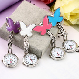 Wholesale Nurse Watch Butterfly - Wholesale-1pc Pocket Medical Nurse Fob Watch Women Dress Watches 4 Colors Clip-on Pendant Hanging Quartz Clock Butterfly Shape