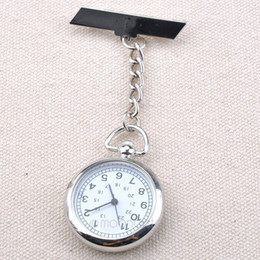 Wholesale Wholesale Silver Cross Watches - Wholesale-NEW!!! Antique Hot Sale Stainless Steel Medical Doctor Brooch Fob Quartz Cross Nurse Silver Pocket Watch ZX*MPJ089#C9