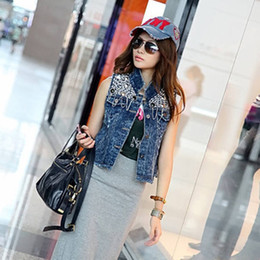 Wholesale Sequins Jean Vest - Fashion New Womens Vintage Washed Blue Denim Sequin embellish Jean Vest Sleeveless Jacket, Free Shipping