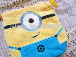 Wholesale Despicable Drawstring - Free Shipping Despicable Me Minion Birthday Party Favor Candy Drawstring Bag Retail