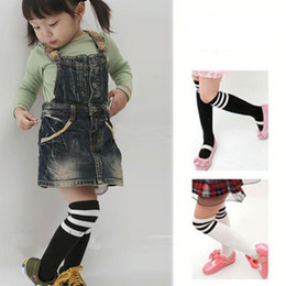 Wholesale White Baby Socks Free Shipping - Wholesale-Hot Sale Fashion Lovely Preppy Style Baby Kids Knee Socks Black White Striped Cotton Socks 2-7Years XL482 Free Shipping