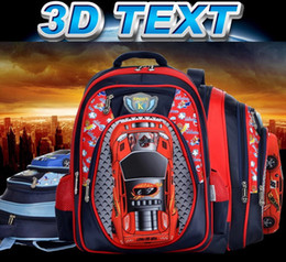 Wholesale Children School Bag Car Blue - Wholesale-New Arrival 3D Orthopedic Car-styling Transformation School Bags Children Kids Teenagers Boy Girl Student Backpack Mochila Bag