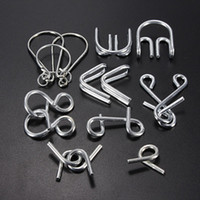 Wholesale Chinese Toy Sales - Wholesale-Hot Sale 7 pcs lot IQ Test Toys Mind Logic Game Brain Teaser Metal Wire Puzzles Classical Chinese educational Toy for Kid Adult