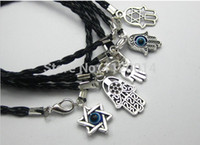 Wholesale Silver Hamsa Evil Eye Charm - Mixed Antique Silver Fatima Hamsa Hand Charm Evil Eye Jewish Religion Lucky Bracelet &Bangles Protection Kabbalah Jewelry Gift
