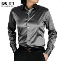 Wholesale Sheng Long - Wholesale-Sheng unlined upper garment of men's shirt Han edition cultivate one's morality men's long sleeve professional