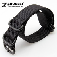 Wholesale 18mm Nylon Strap - 18mm 20mm 22mm 24mm New Black Nato Durable Nylon Wrist Watch Strap Band Military Army Nylon Divers Stainless Steel Buckle Clasp