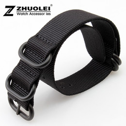 Wholesale 18mm Nylon Watch - 18mm 20mm 22mm 24mm New Black Nato Durable Nylon Wrist Watch Strap Band Military Army Nylon Divers Stainless Steel Buckle Clasp
