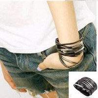 Gros-1pcs Cool Fashion rock Multilayer Cuir Métal clip Large Bracelet Noir # 487