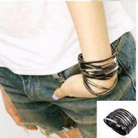 Wholesale Black Metal Bangles - Wholesale-1pcs Fashion Cool Rock Multilayer Leather Metal Clip Wide Bracelet Bangle Black #487