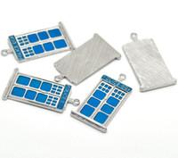 "Wholesale Police Box Necklace - Wholesale-2015 New Fashion Silver Tone Enamel Blue ""POLICE BOX"" Charm Pendants For Girls"