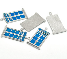 "Wholesale Police Box Necklace - Wholesale-2015 New Fashion Silver Tone Enamel Blue ""POLICE BOX"" Charm Pendants For Girls"