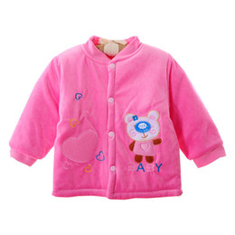 Wholesale One Piece Baby Winter - Wholesale-Autumn Winter Soft Padded Warm Baby Coral Fleece Velvet Coat Toddler Boy's Girl's Jacket Outfit Outwear One-Piece 0-12M