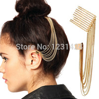 Wholesale Nickel Hair Clips - Wholesale-2015 Girl Gothic Punk Nickel Free Long Tassel Chain Hair Pin Comb Rivet Ear Cartilage Cuff Gold Clip Earrings No Piercing A00283