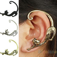 Wholesale Cat Clip Earrings - Wholesale-Retro Vintage Punk Gothic Copper Cat Pussy Ear Cuff Earring for Women 3 Colors earings fashion 2016 free shipping 1HNS