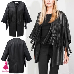 Wholesale Leather Jackets Trendy Women - Wholesale-Trendy Hollow Out Faux Leather Black Irregular Tassels Fringed Cardigan Cloak Cape Jacket Poncho Coat Blouse Tops New Arrival