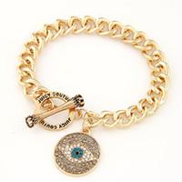 Wholesale Evil Eye Rhinestone Bracelet - Wholesale-Brand Gold Evil Eye Charm Bracelet Rhinestone Ladies Gold Bracelets Women Men Fashion Jewelry Bijoux Pulsera Mujer Gift PD26