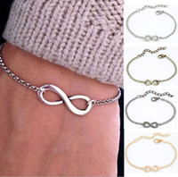Wholesale Wholesale Jewelry Vintage Chic Bracelet - Wholesale-Fashion Jewelry Women Chic Punk Metal Sliver Infinite Chain Bangle Girls Vintage Infinity Sign Casual Bracelet High Quality