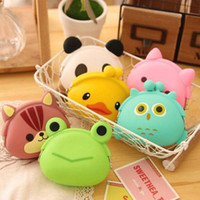 Wholesale Cute Womens Bag - Wholesale-1 PCS Hot Multi-color Cute Wallet Kawaii Womens' Girls' Gifts Cartoon Animal Silicone Jelly Coin Purse Bag Cover Case