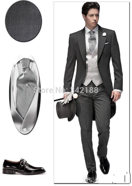 Wholesale-2015 Customize Elegant Bridegrom Gray morning suit Wedding tuxedo for men/groomwear 3 pieces suits include(jacket+vest +pants