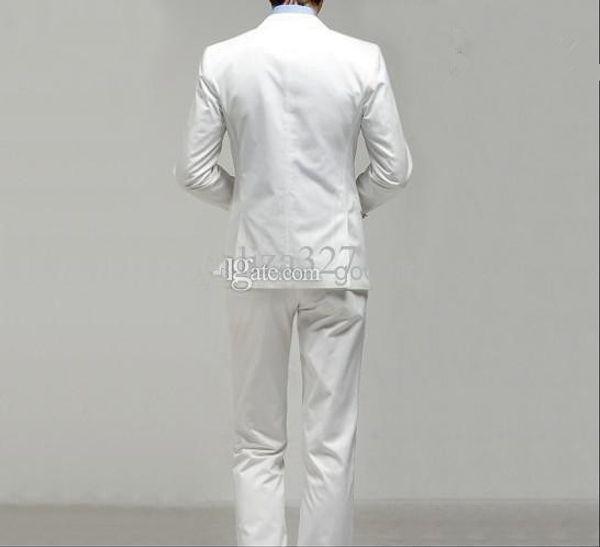 Wholesale-2015 Shopping leisure Men's morning dress Gentleman White men's dress prom wedding suits for men classic groom tuxedos