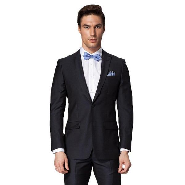 Wholesale-2015 sale Fashion Tuxedos Suit Black men's dress Notch prom wedding suits for men groom suit