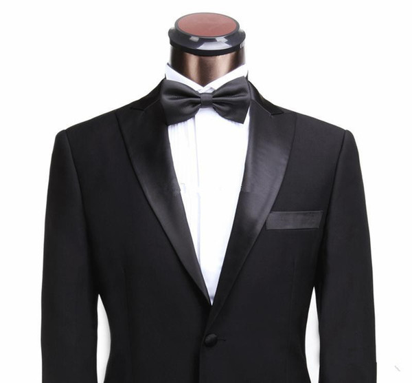 Wholesale-2015 Fashion Tuxedos Black men's dress prom wedding suits for men classic groom tuxedos