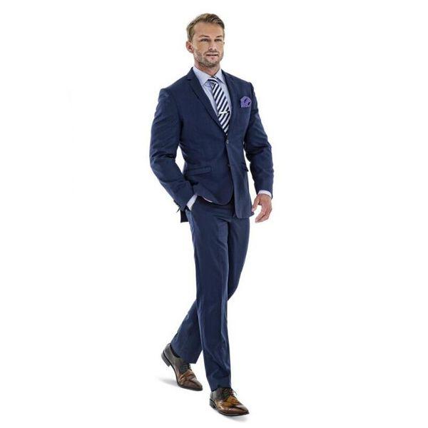 Wholesale-Custom Men Suits Groom Tuxedos Dark Blue Best man Peak Black Lapel Groomsman Men Wedding Suits Bridegroom (Jacket+Pants)