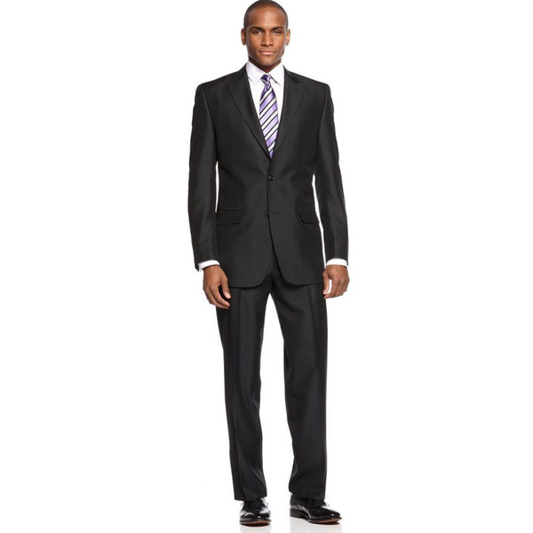 Wholesale-One Button Groom Tuxedos Peak Lapel Best man Suit black Groomsman Bridegroom Wedding Prom Suits (Jacket+Pants+Tie )