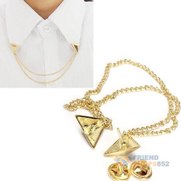 Wholesale Studs Spike Shirts - Wholesale-#F9s Hot Spike Stud Blouse Shirts Collar Neck Tip Brooch Pin Chain Punk Free Shipping