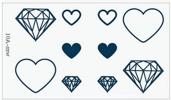 Großhandels- (Minimaler Auftrag $ 0.5) Temporäres Tätowierung für Mann-Frauen-wasserdichte Aufkleber Verfassung maquiagem bilden Diamantherztätowierung WM075