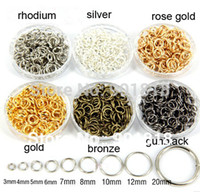 Wholesale Gold Tone Jump Rings - Wholesale-5mm 200pcs bag wholesale gunblack Gold Silver Bronze rose gold Rhodium Tone Jump Rings jewelry making Findings F309C